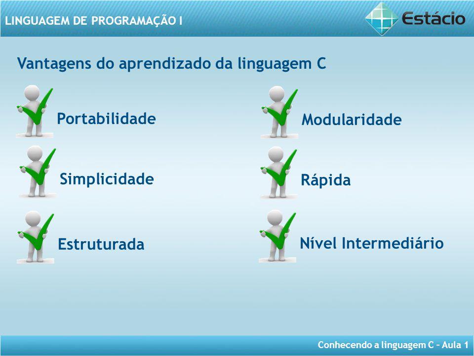 Conhecendo a linguagem C – Aula 1 LINGUAGEM DE PROGRAMAÇÃO I Vantagens do aprendizado da linguagem C Portabilidade Simplicidade Estruturada Rápida Mod
