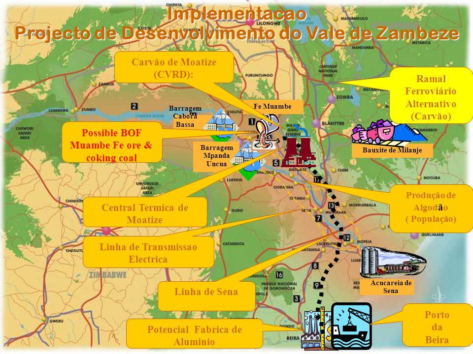 Implementacao Projecto de Desenvolvimento do Vale de Zambeze Bauxite de Milanje Barragem Cabora Bassa Barragem Mpanda Uncua Acucareia de Sena Fe Muamb