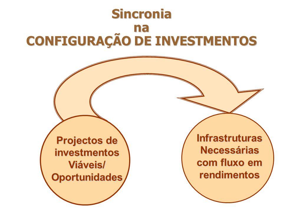 Sincronia na CONFIGURAÇÃO DE INVESTMENTOS Projectos de investmentos Viáveis/ Oportunidades Infrastruturas Necessárias com fluxo em rendimentos