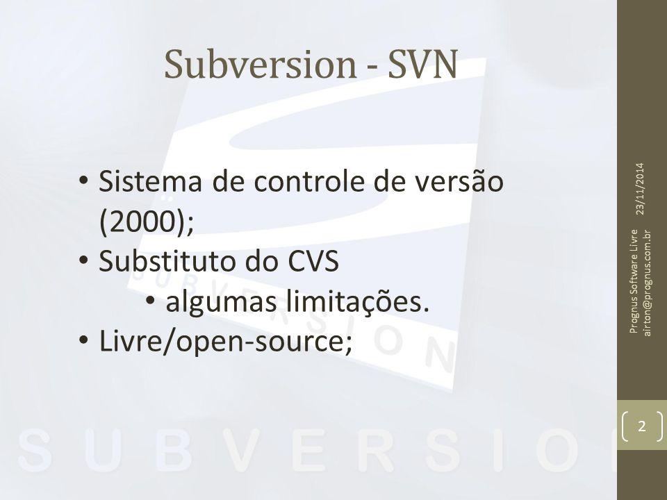 Subversion - SVN Sistema de controle de versão (2000); Substituto do CVS algumas limitações. Livre/open-source; 23/11/2014 Prognus Software Livre airt