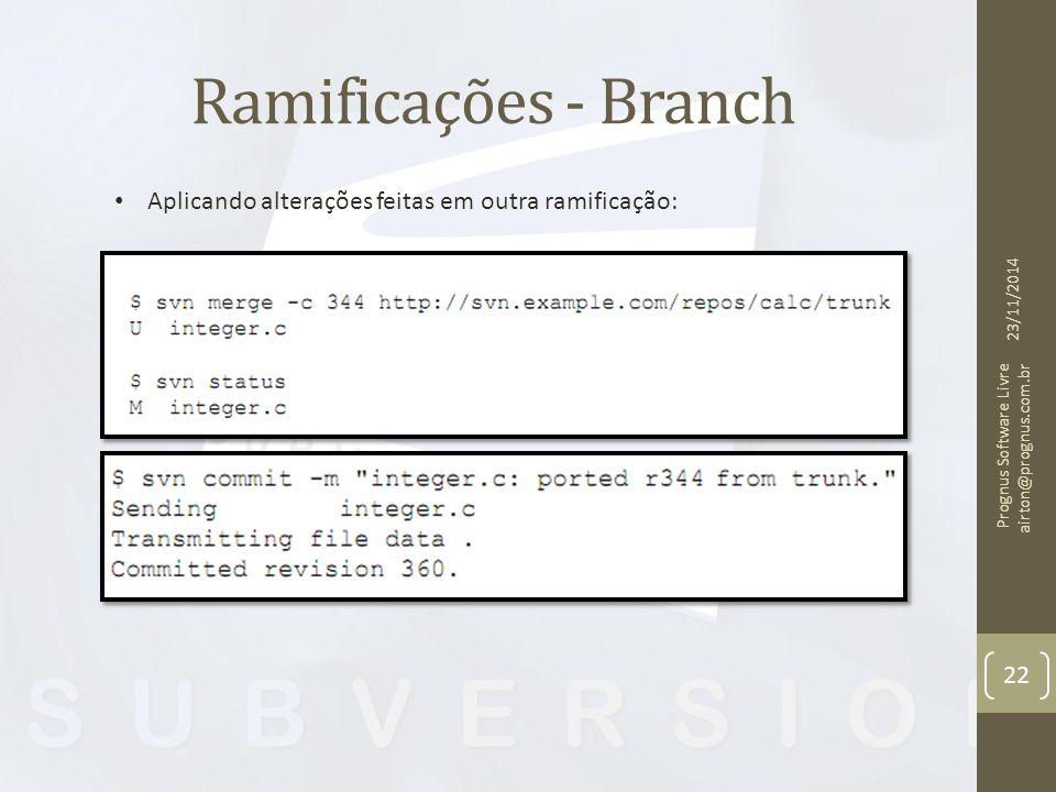 Ramificações - Branch 23/11/2014 Prognus Software Livre airton@prognus.com.br 22 Aplicando alterações feitas em outra ramificação: