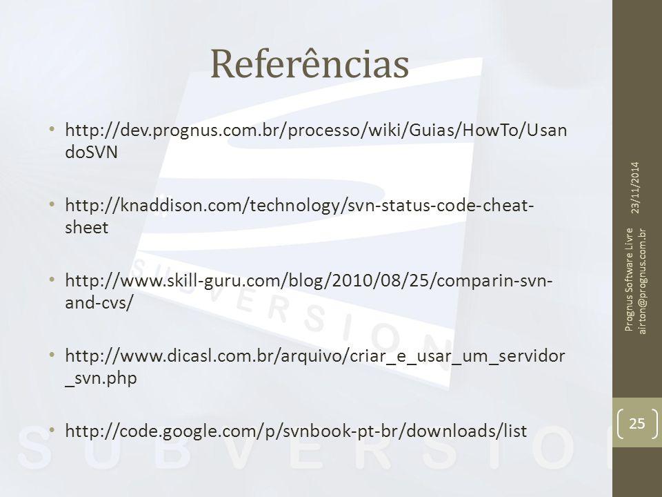 Referências http://dev.prognus.com.br/processo/wiki/Guias/HowTo/Usan doSVN http://knaddison.com/technology/svn-status-code-cheat- sheet http://www.ski