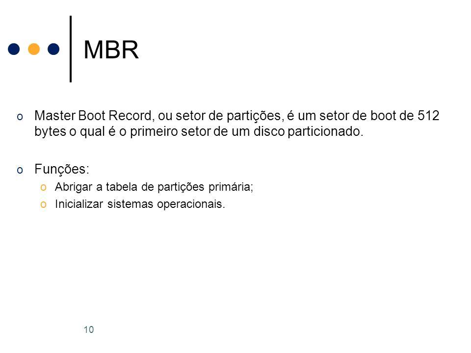 o Master Boot Record, ou setor de partições, é um setor de boot de 512 bytes o qual é o primeiro setor de um disco particionado.