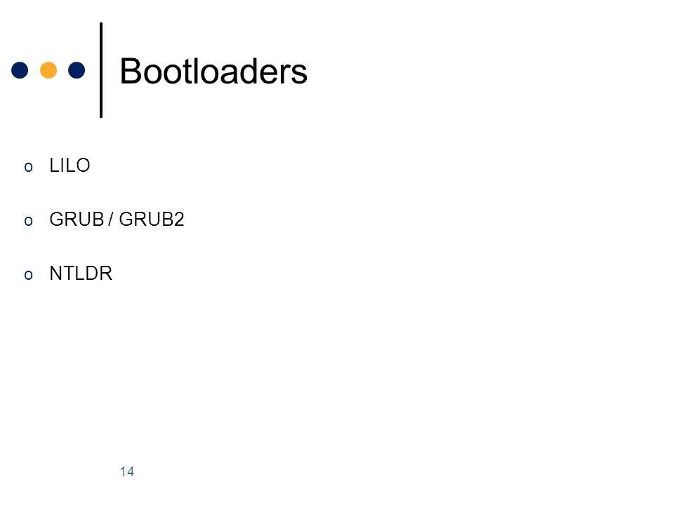 o LILO o GRUB / GRUB2 o NTLDR Bootloaders 14
