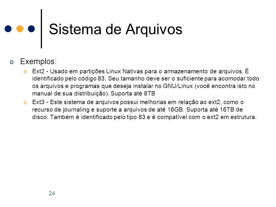 o Exemplos: oExt2 - Usado em partições Linux Nativas para o armazenamento de arquivos.
