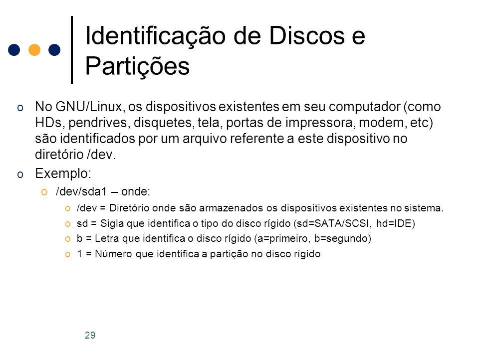 o No GNU/Linux, os dispositivos existentes em seu computador (como HDs, pendrives, disquetes, tela, portas de impressora, modem, etc) são identificados por um arquivo referente a este dispositivo no diretório /dev.
