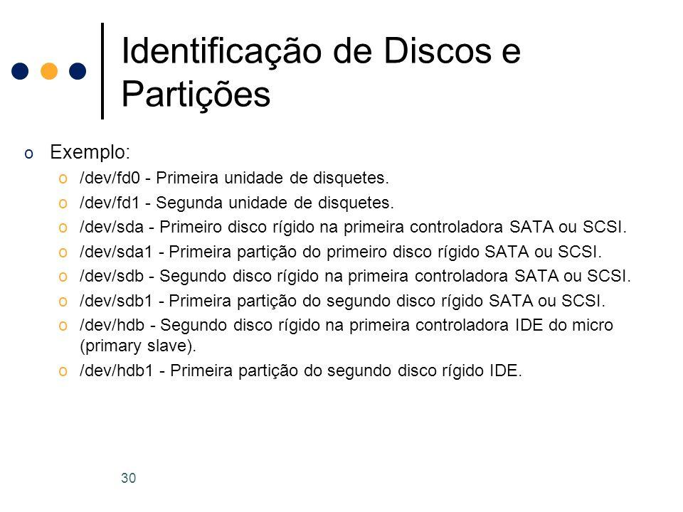 o Exemplo: o/dev/fd0 - Primeira unidade de disquetes.