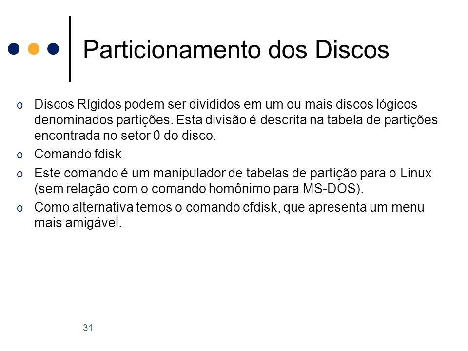 o Discos Rígidos podem ser divididos em um ou mais discos lógicos denominados partições.