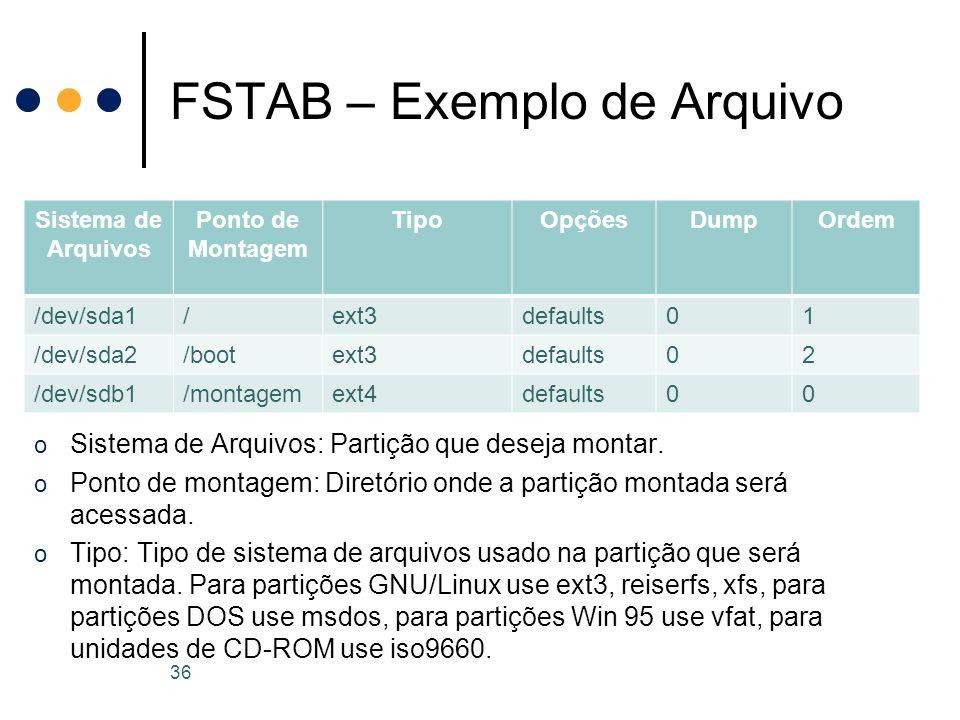 FSTAB – Exemplo de Arquivo 36 Sistema de Arquivos Ponto de Montagem TipoOpçõesDumpOrdem /dev/sda1/ext3defaults01 /dev/sda2/bootext3defaults02 /dev/sdb1/montagemext4defaults00 o Sistema de Arquivos: Partição que deseja montar.