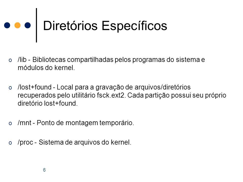 o /lib - Bibliotecas compartilhadas pelos programas do sistema e módulos do kernel.