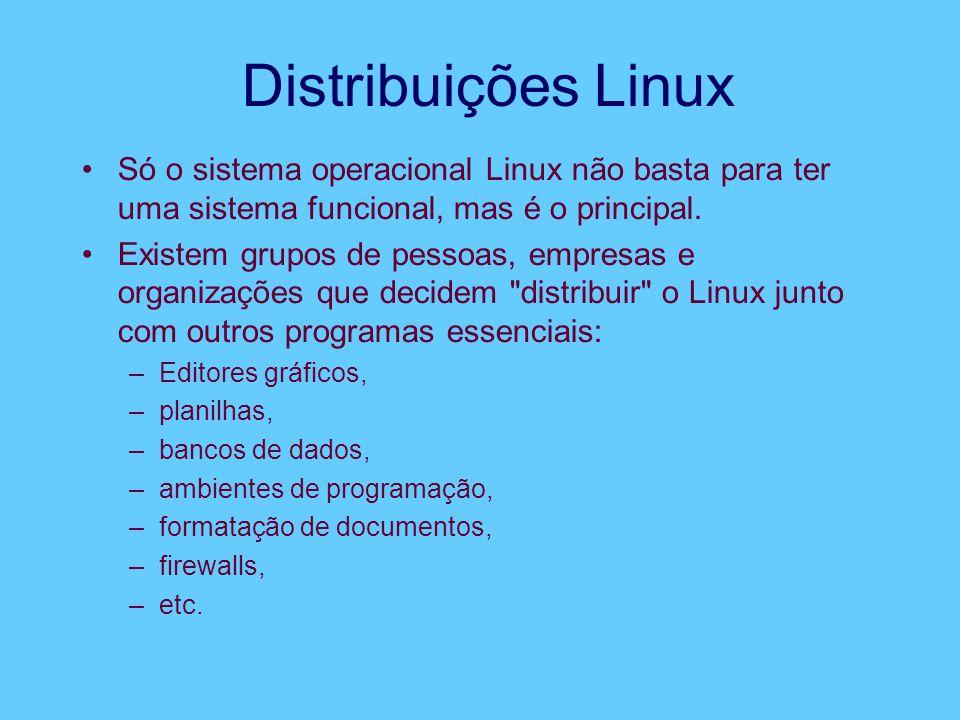 Distribuições Linux Só o sistema operacional Linux não basta para ter uma sistema funcional, mas é o principal. Existem grupos de pessoas, empresas e