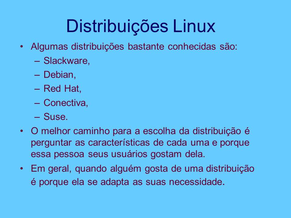 Distribuições Linux Algumas distribuições bastante conhecidas são: –Slackware, –Debian, –Red Hat, –Conectiva, –Suse.