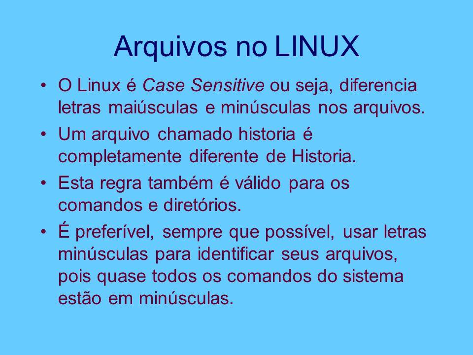 Arquivos no LINUX O Linux é Case Sensitive ou seja, diferencia letras maiúsculas e minúsculas nos arquivos. Um arquivo chamado historia é completament