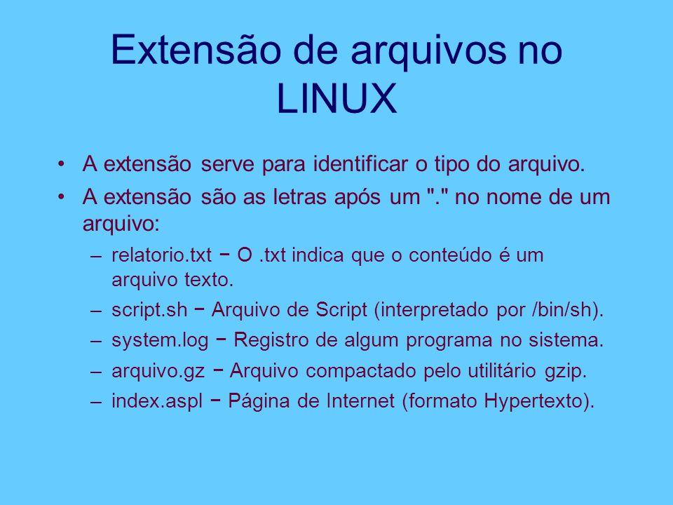 Extensão de arquivos no LINUX A extensão serve para identificar o tipo do arquivo.