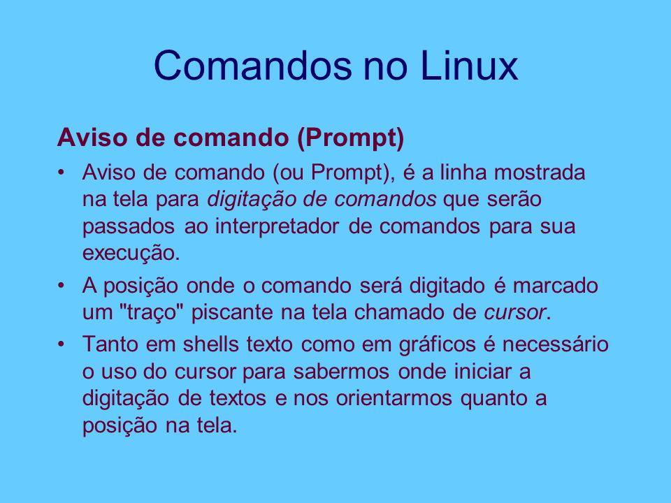 Comandos no Linux Aviso de comando (Prompt) Aviso de comando (ou Prompt), é a linha mostrada na tela para digitação de comandos que serão passados ao interpretador de comandos para sua execução.