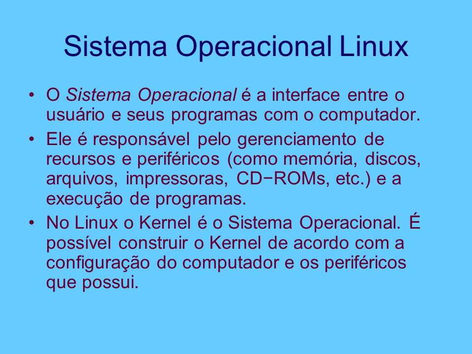 Sistema Operacional Linux O Sistema Operacional é a interface entre o usuário e seus programas com o computador. Ele é responsável pelo gerenciamento
