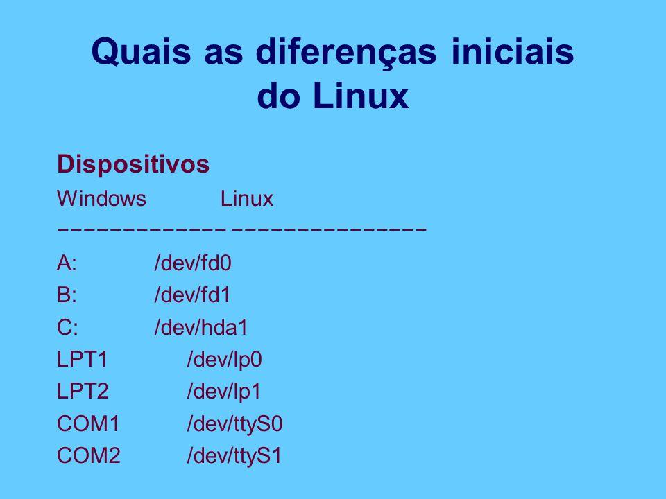 Quais as diferenças iniciais do Linux Dispositivos Windows Linux −−−−−−−−−−−−− −−−−−−−−−−−−−−− A: /dev/fd0 B: /dev/fd1 C: /dev/hda1 LPT1 /dev/lp0 LPT2 /dev/lp1 COM1 /dev/ttyS0 COM2 /dev/ttyS1
