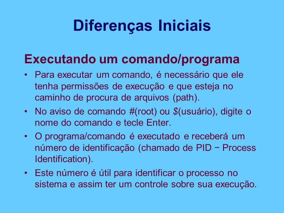 Diferenças Iniciais Executando um comando/programa Para executar um comando, é necessário que ele tenha permissões de execução e que esteja no caminho de procura de arquivos (path).