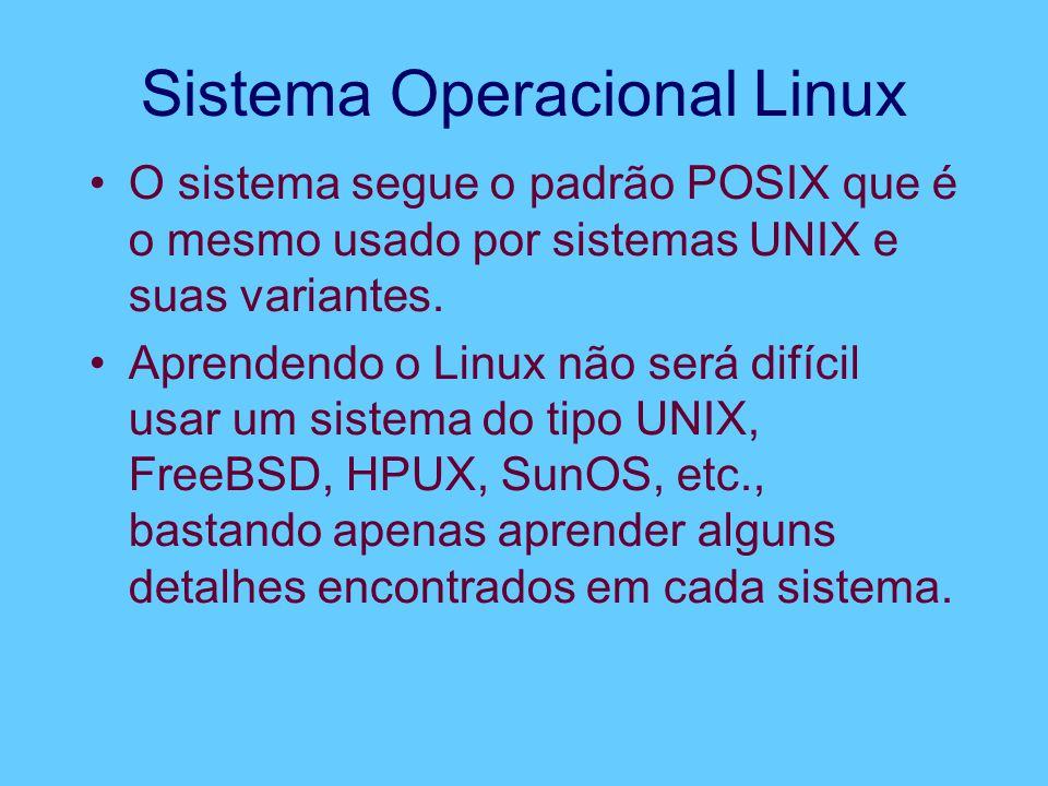 Sistema Operacional Linux O sistema segue o padrão POSIX que é o mesmo usado por sistemas UNIX e suas variantes. Aprendendo o Linux não será difícil u