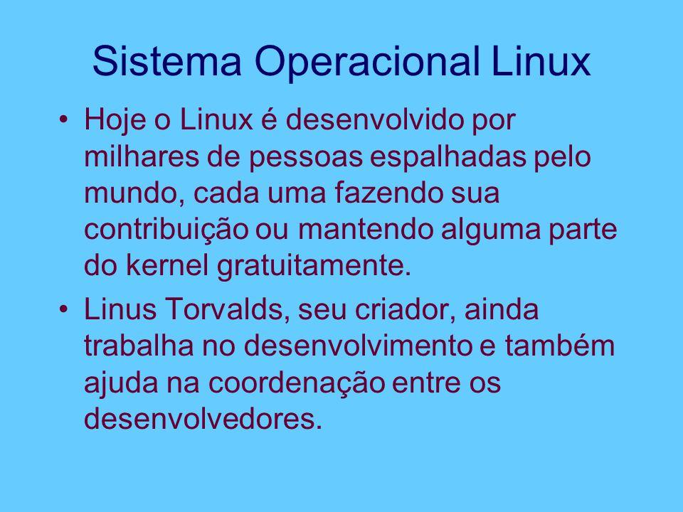 Sistema Operacional Linux Hoje o Linux é desenvolvido por milhares de pessoas espalhadas pelo mundo, cada uma fazendo sua contribuição ou mantendo alguma parte do kernel gratuitamente.