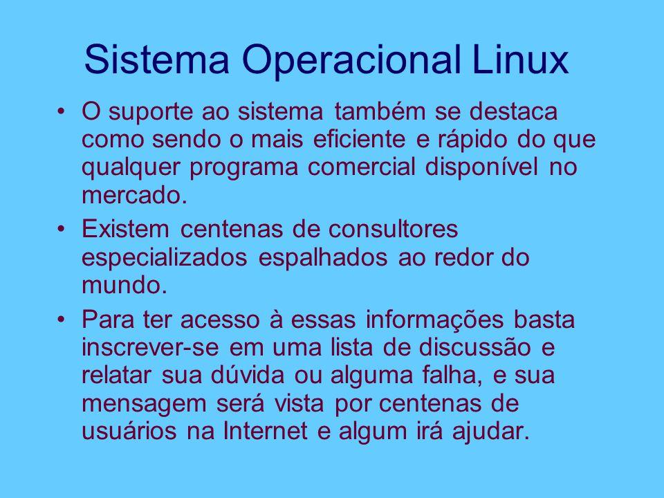 Sistema Operacional Linux O suporte ao sistema também se destaca como sendo o mais eficiente e rápido do que qualquer programa comercial disponível no mercado.