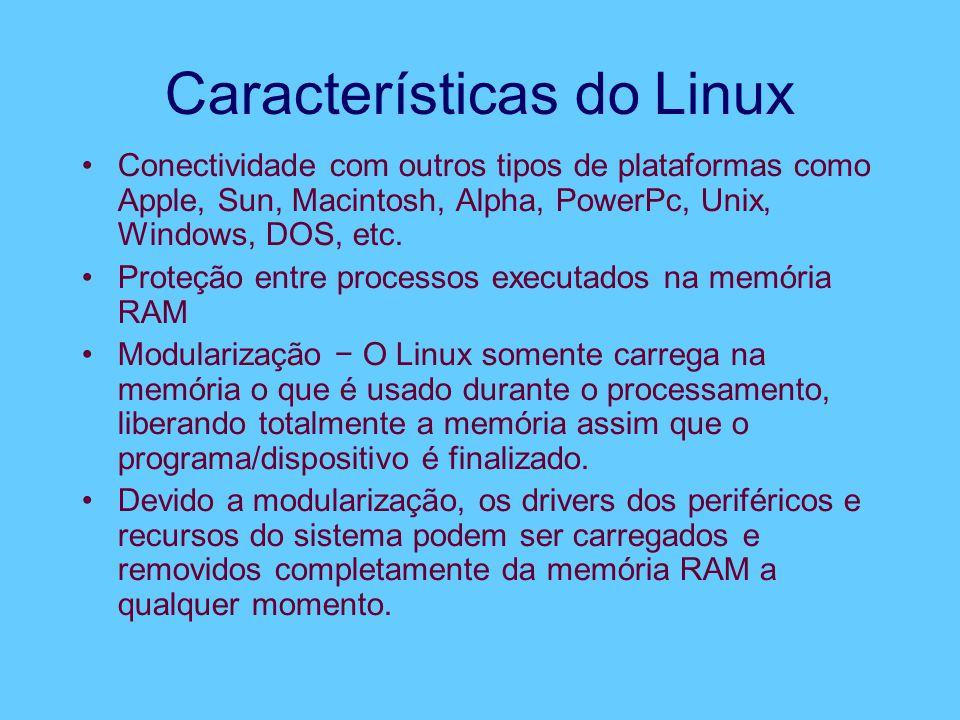 Características do Linux Conectividade com outros tipos de plataformas como Apple, Sun, Macintosh, Alpha, PowerPc, Unix, Windows, DOS, etc. Proteção e