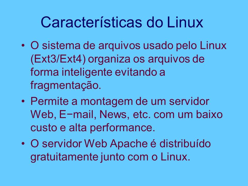 Características do Linux O sistema de arquivos usado pelo Linux (Ext3/Ext4) organiza os arquivos de forma inteligente evitando a fragmentação. Permite