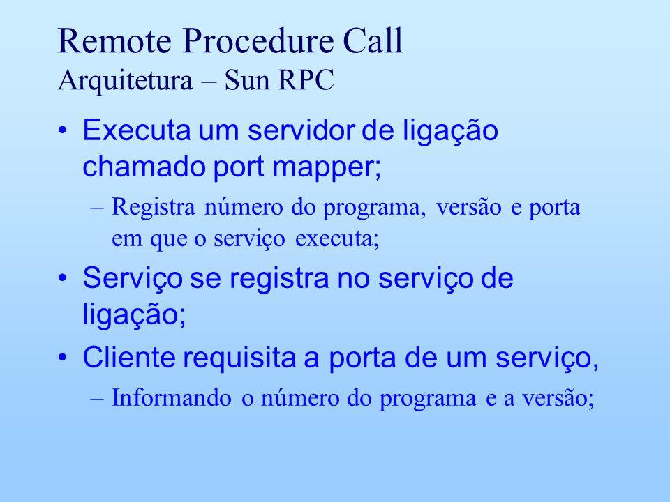 Remote Procedure Call Arquitetura – Sun RPC Executa um servidor de ligação chamado port mapper; –Registra número do programa, versão e porta em que o serviço executa; Serviço se registra no serviço de ligação; Cliente requisita a porta de um serviço, –Informando o número do programa e a versão;