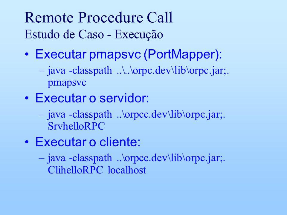 Remote Procedure Call Estudo de Caso - Execução Executar pmapsvc (PortMapper): –java -classpath..\..\orpc.dev\lib\orpc.jar;.