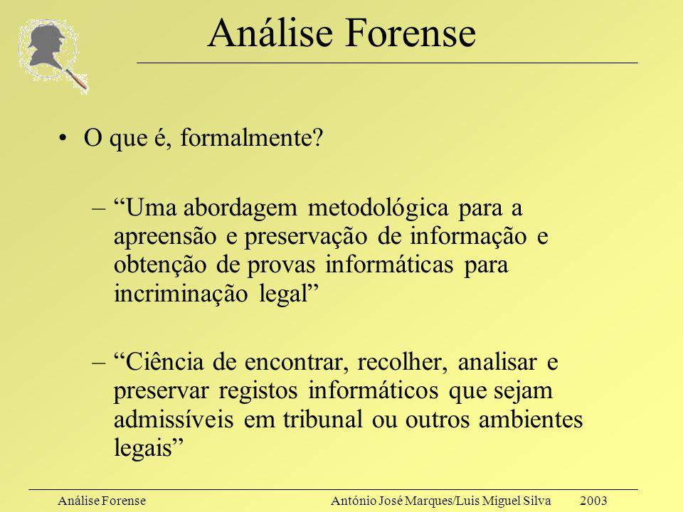 Análise ForenseAntónio José Marques/Luis Miguel Silva 2003 Análise Forense O que é, formalmente.