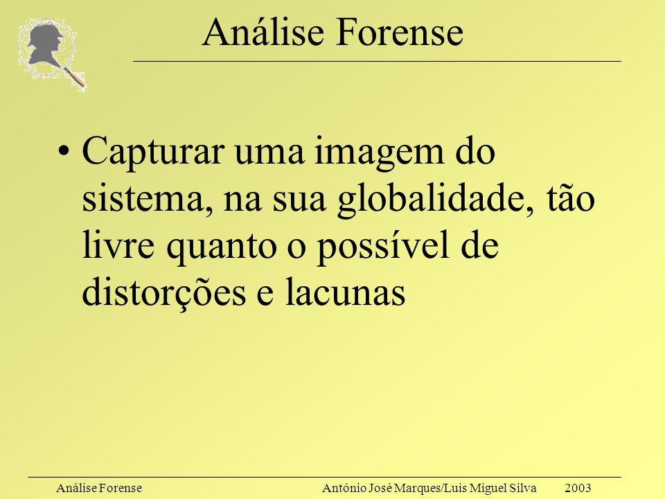 Análise ForenseAntónio José Marques/Luis Miguel Silva 2003 Análise Forense A integridade do seu sistema foi comprometida!! Foi chamado o Analista Fore