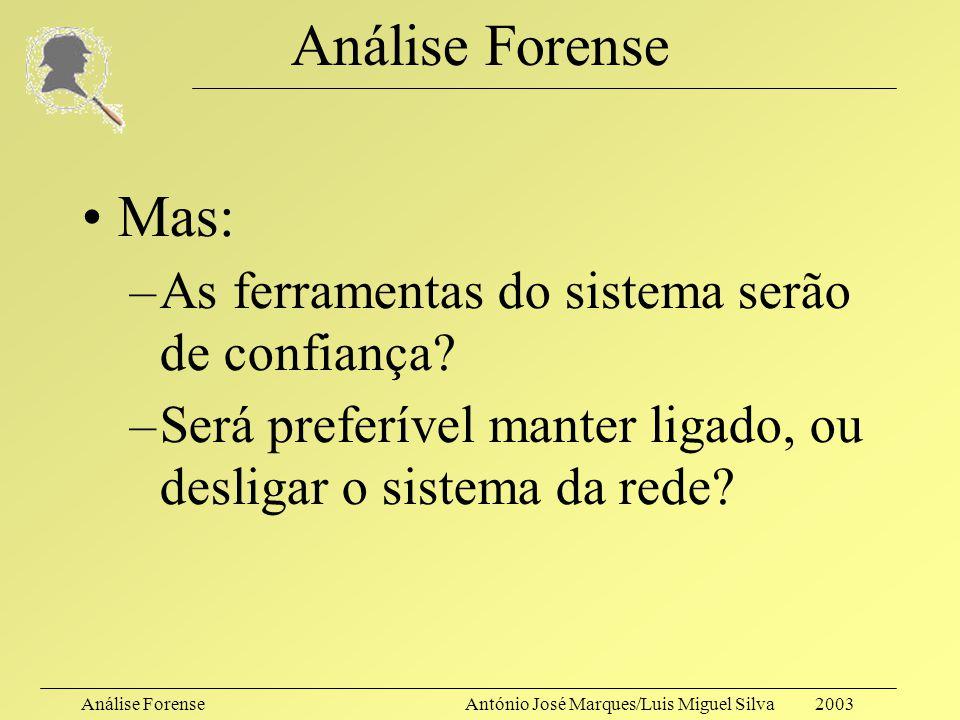 Análise ForenseAntónio José Marques/Luis Miguel Silva 2003 Análise Forense Capturar uma imagem do sistema, na sua globalidade, tão livre quanto o poss