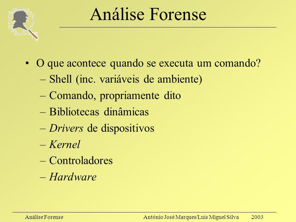 Análise ForenseAntónio José Marques/Luis Miguel Silva 2003 Análise Forense Mas: –As ferramentas do sistema serão de confiança? –Será preferível manter