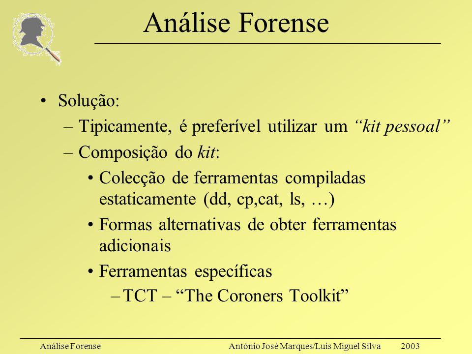 Análise ForenseAntónio José Marques/Luis Miguel Silva 2003 Análise Forense O que acontece quando se executa um comando? –Shell (inc. variáveis de ambi