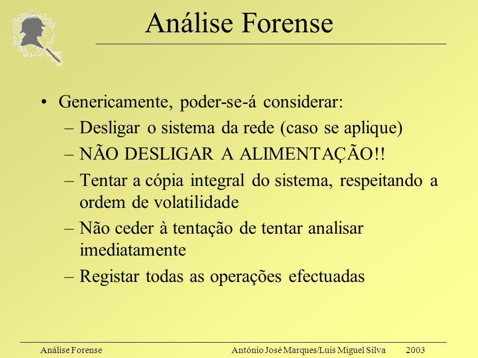 Análise ForenseAntónio José Marques/Luis Miguel Silva 2003 Análise Forense E depois? Dever-se-á fazer a análise sobre o original, ou sobre uma cópia?