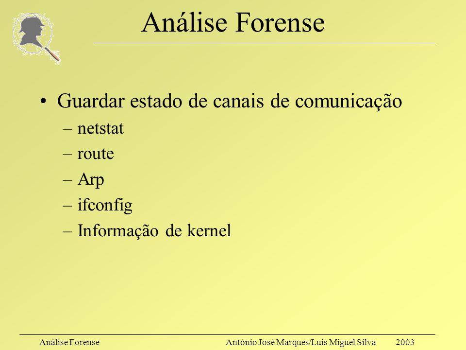 Análise ForenseAntónio José Marques/Luis Miguel Silva 2003 Análise Forense Cópia de conteúdos em RAM: – #dd kmem.save Cópia simples de ficheiros via r