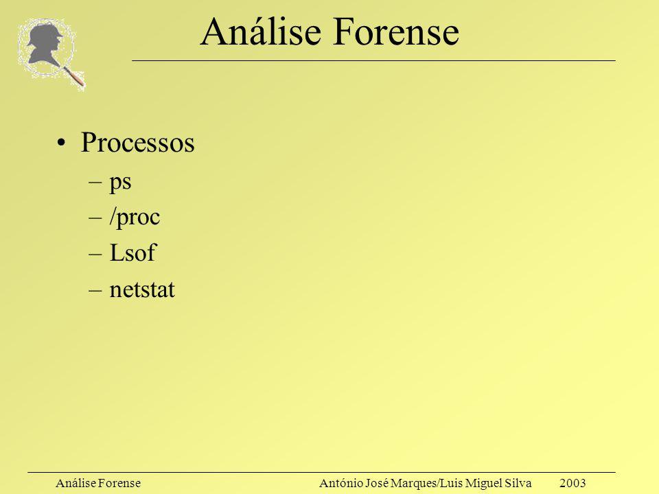 Análise ForenseAntónio José Marques/Luis Miguel Silva 2003 Análise Forense Guardar estado de canais de comunicação –netstat –route –Arp –ifconfig –Inf