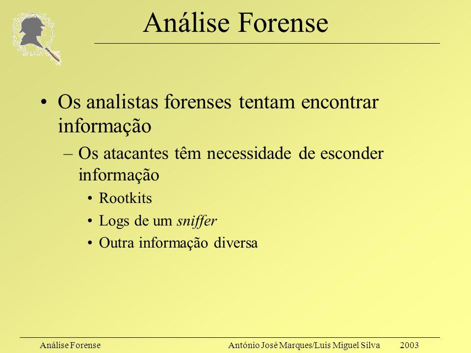 Análise ForenseAntónio José Marques/Luis Miguel Silva 2003 Anti-análise Forense Anti-análise forense (novamente…) –Analisando as formas de actuação do