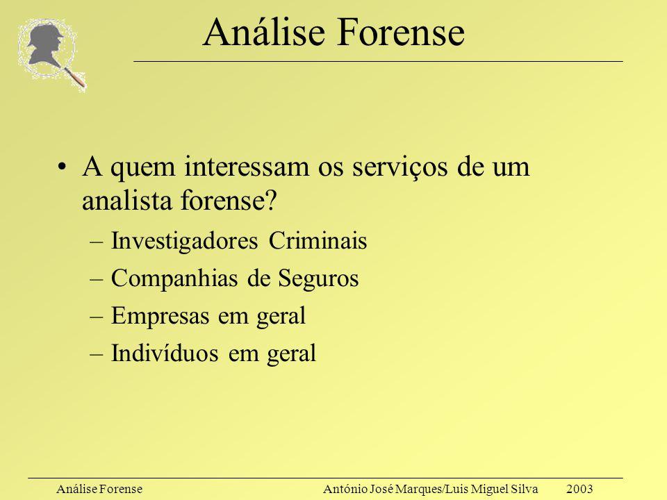 Análise ForenseAntónio José Marques/Luis Miguel Silva 2003 Análise Forense Quem é o analista forense informático, então? –Um investigador que, no âmbi