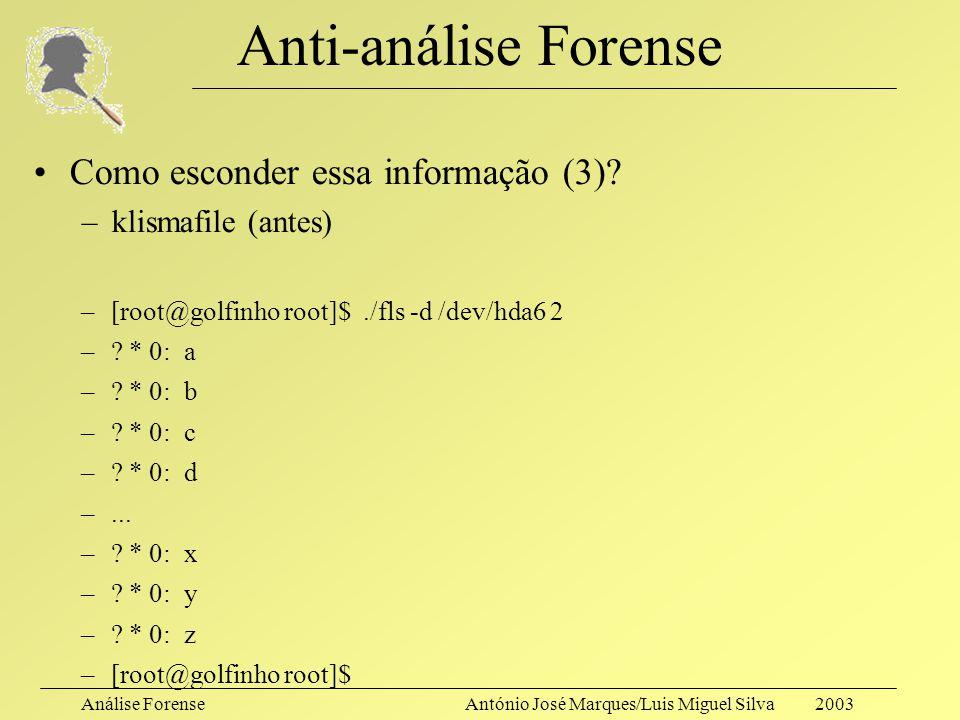 Análise ForenseAntónio José Marques/Luis Miguel Silva 2003 Anti-análise Forense Como esconder essa informação (3)? –necrofile (depois) –[root@golfinho