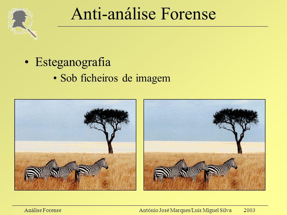 Análise ForenseAntónio José Marques/Luis Miguel Silva 2003 Anti-análise Forense Esteganografia –Actualmente, aparece frequentemente com a denominação