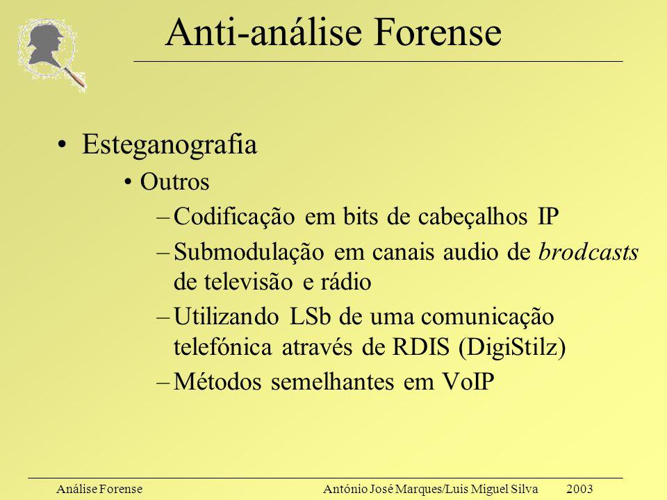 Análise ForenseAntónio José Marques/Luis Miguel Silva 2003 Anti-análise Forense Esteganografia Sob ficheiros de som –Modelo Psicoacústico e auditory m