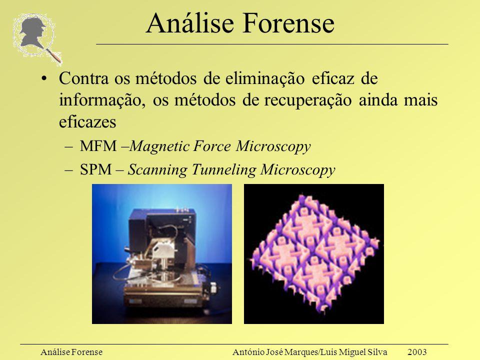Análise ForenseAntónio José Marques/Luis Miguel Silva 2003 Análise Forense Novamente??!!!! –Contra os métodos de eliminação eficaz de informação, os m