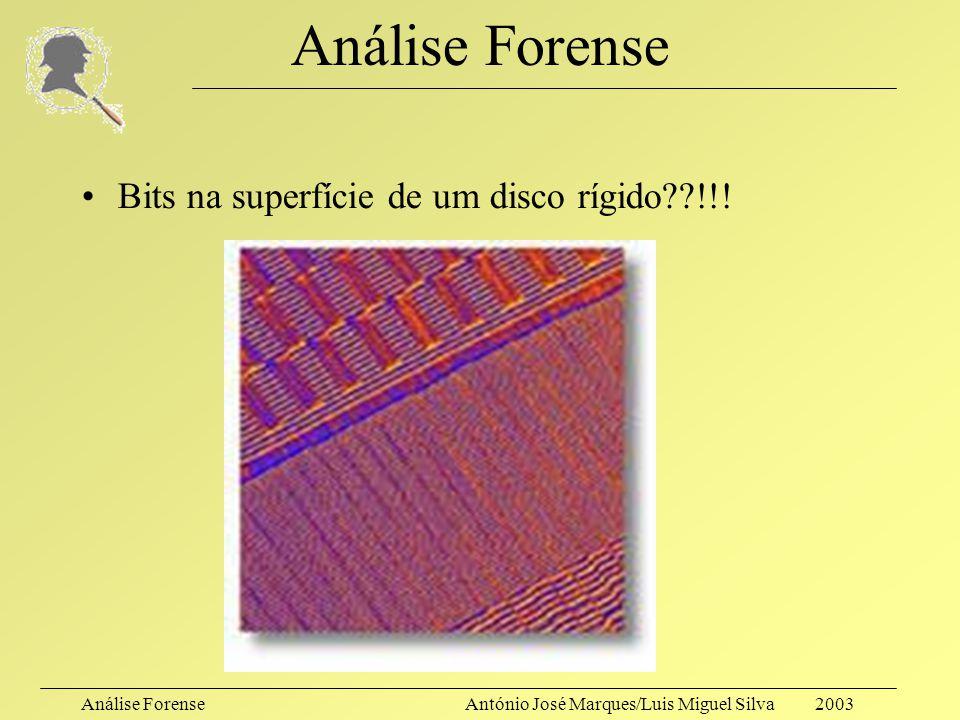 Análise ForenseAntónio José Marques/Luis Miguel Silva 2003 Análise Forense Contra os métodos de eliminação eficaz de informação, os métodos de recuper