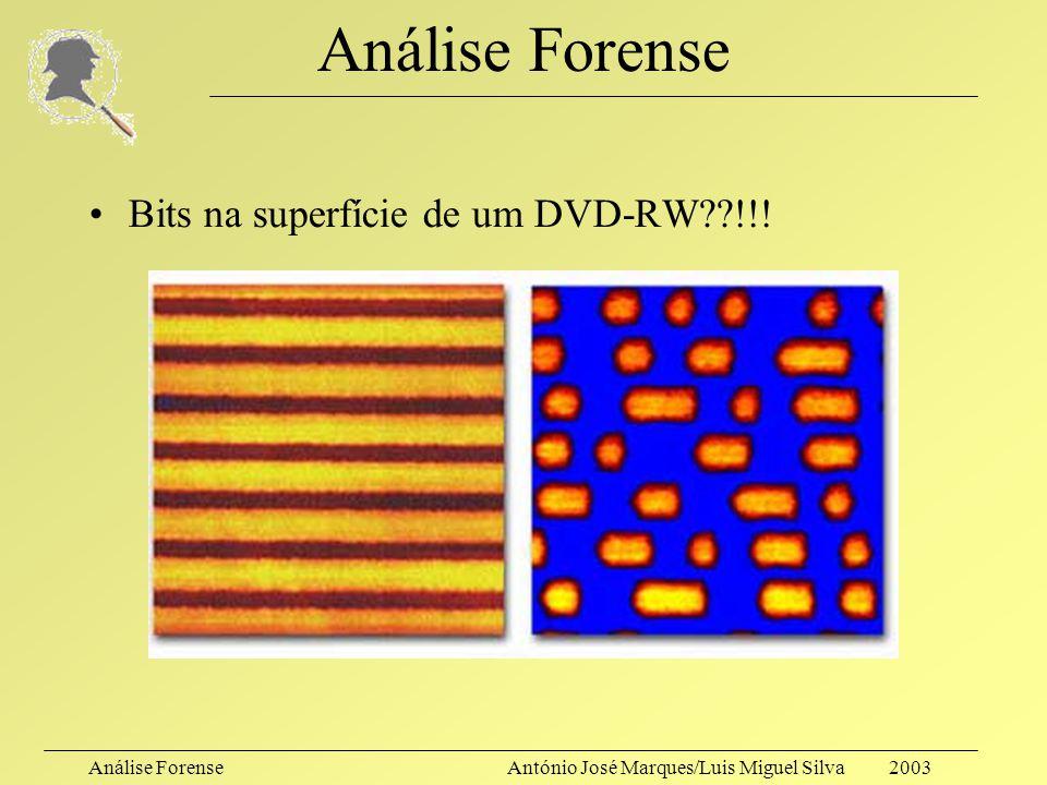 Análise ForenseAntónio José Marques/Luis Miguel Silva 2003 Análise Forense Bits na superfície de um disco rígido??!!!