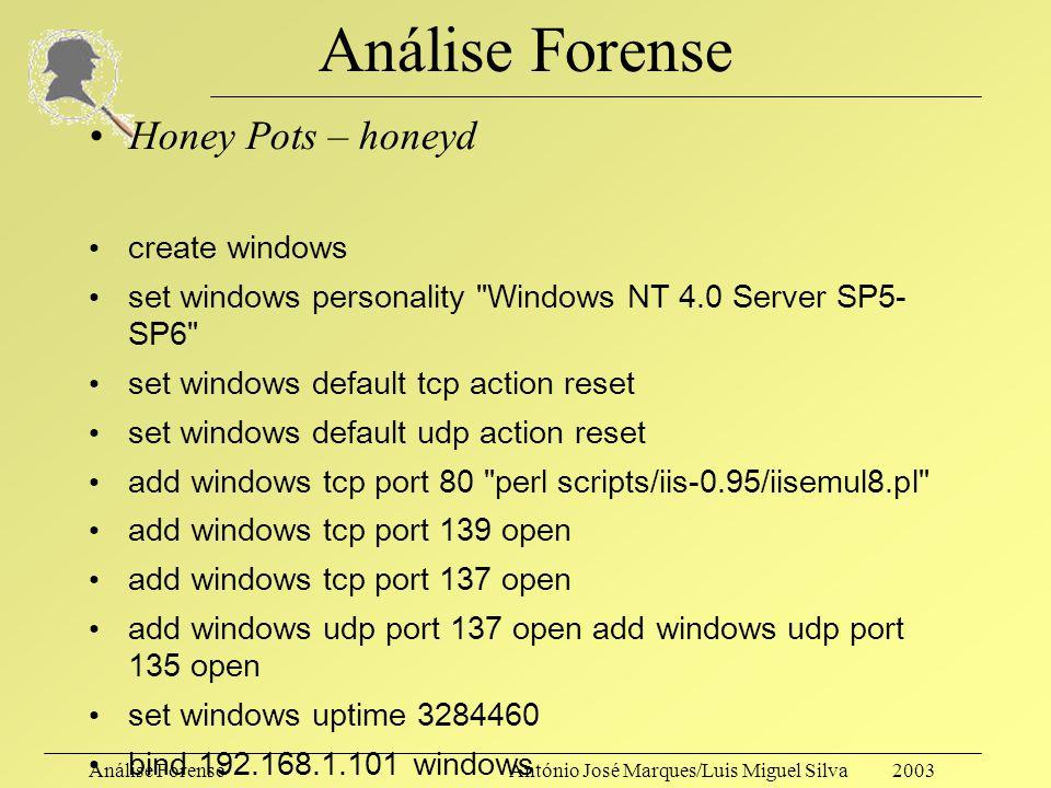 Análise ForenseAntónio José Marques/Luis Miguel Silva 2003 Análise Forense Honey Pots (um pequeno parêntesis…) –Muito úteis para perceber formas típic