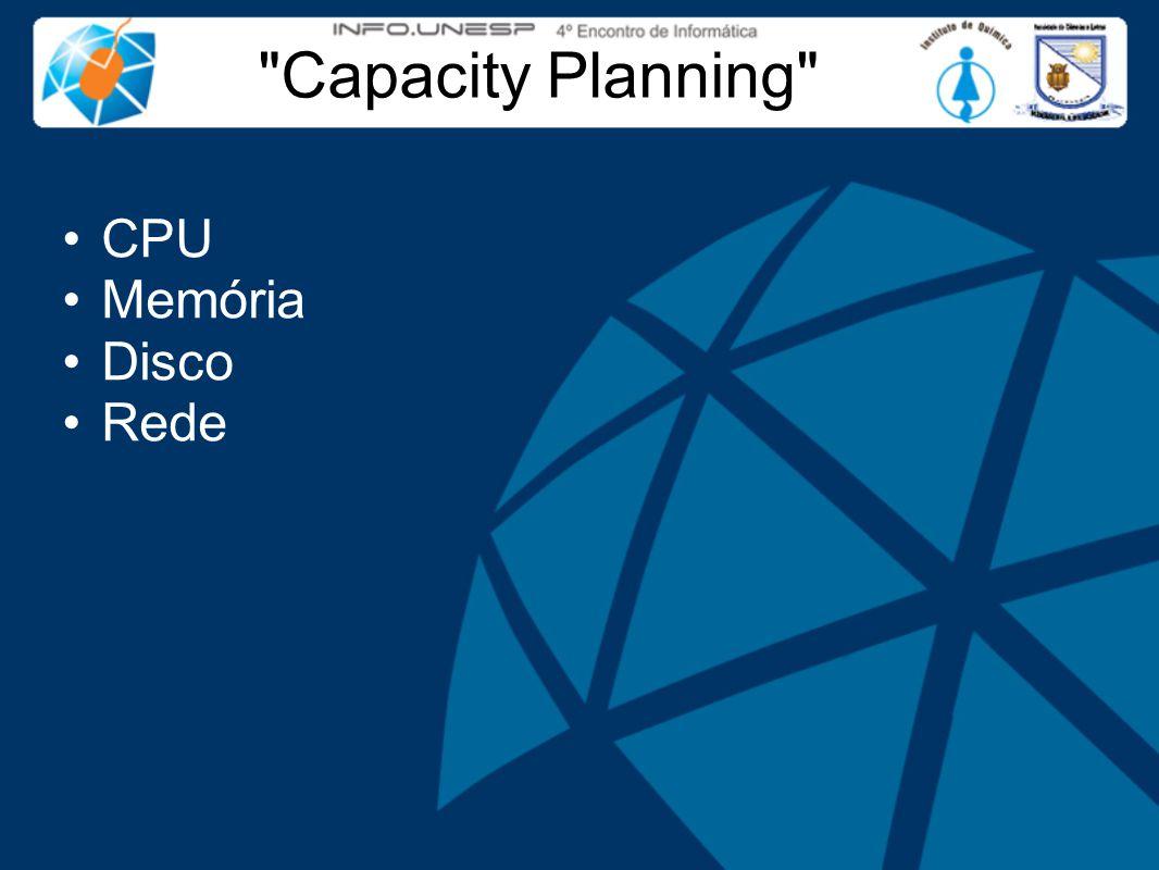 Capacity Planning CPU Memória Disco Rede