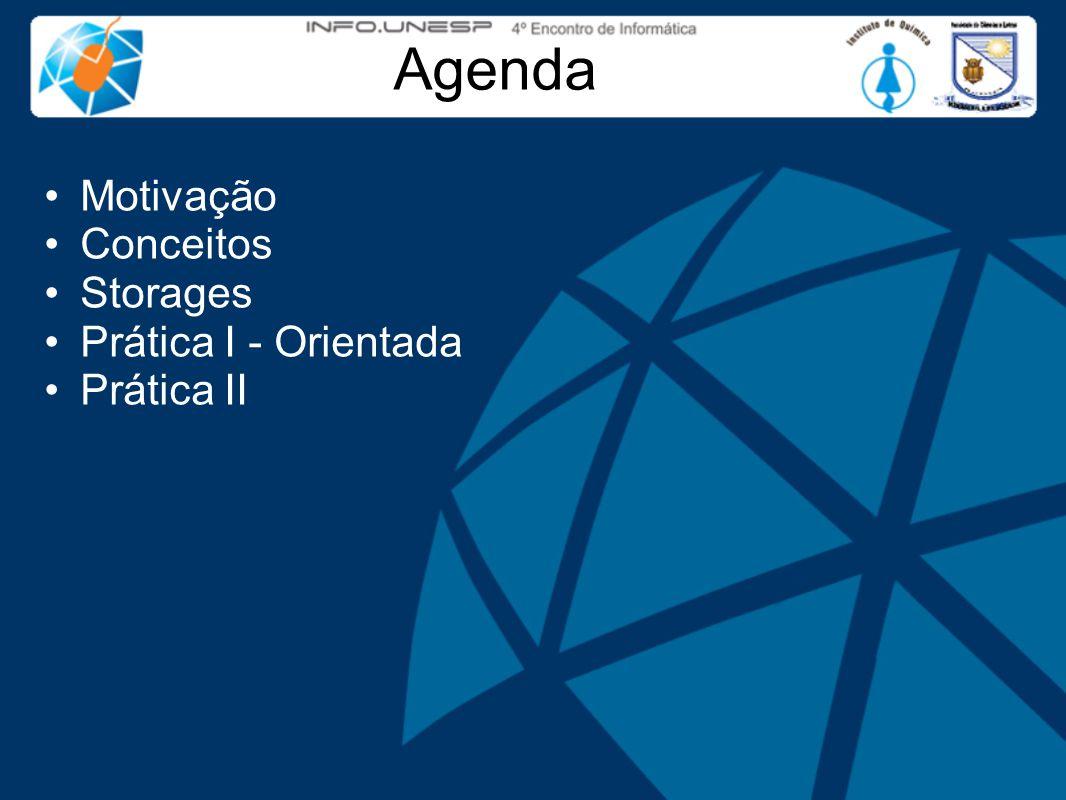Agenda Motivação Conceitos Storages Prática I - Orientada Prática II