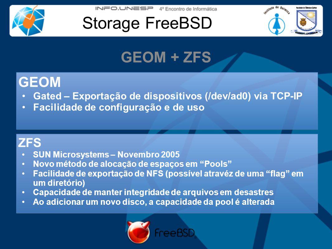 Storage FreeBSD GEOM + ZFS ZFS SUN Microsystems – Novembro 2005 Novo método de alocação de espaços em Pools Facilidade de exportação de NFS (possível atravéz de uma flag em um diretório) Capacidade de manter integridade de arquivos em desastres Ao adicionar um novo disco, a capacidade da pool é alterada GEOM Gated – Exportação de dispositivos (/dev/ad0) via TCP-IP Facilidade de configuração e de uso