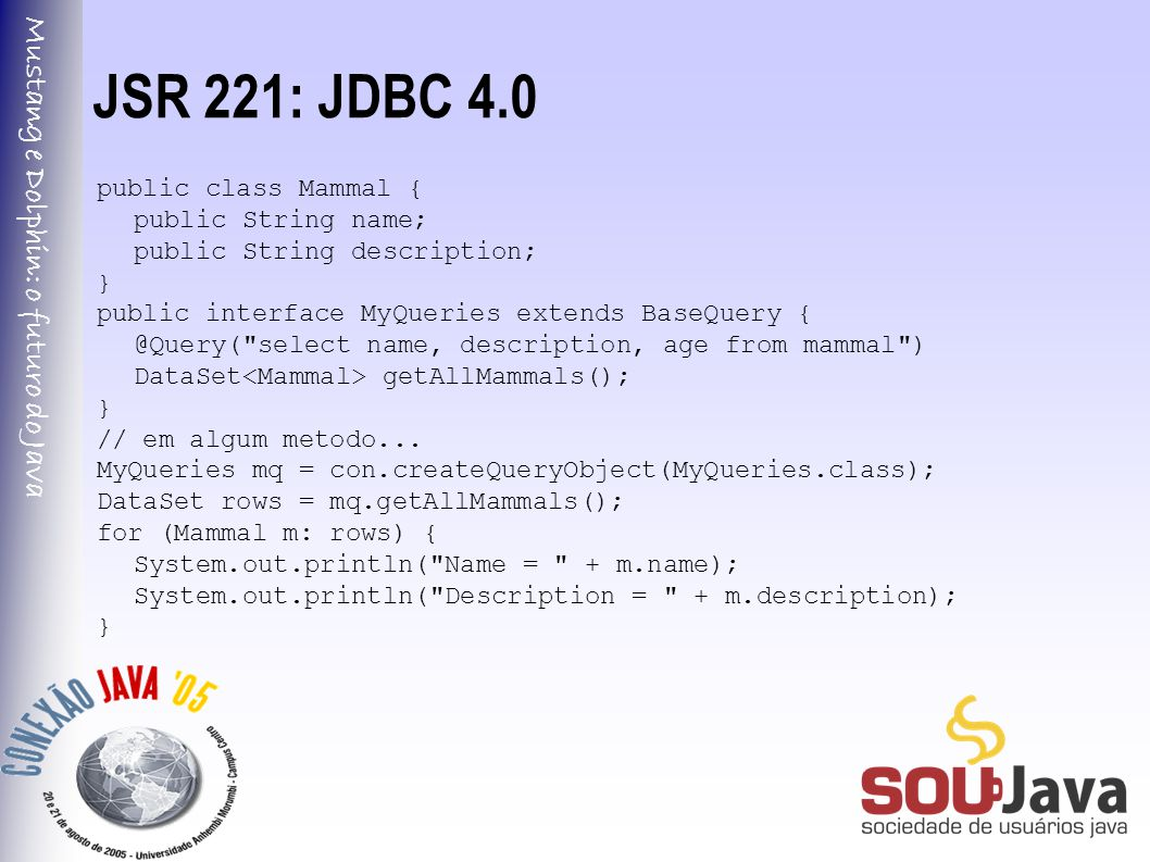 Mustang e Dolphin: o futuro do Java JSR 221: JDBC 4.0 public class Mammal { public String name; public String description; } public interface MyQuerie